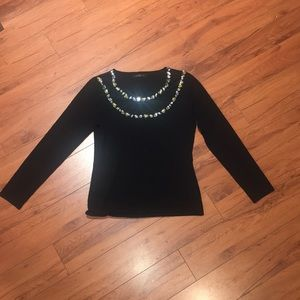 Black sweater with jewels and mesh Like New